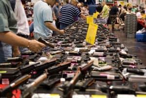 a gun show table